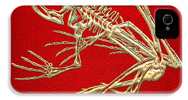 Gold Frog Skeleton On Red Leather IPhone 4s Case by Serge Averbukh