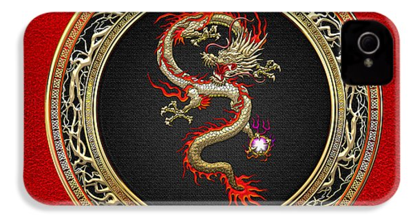 Golden Chinese Dragon Fucanglong On Red Leather  IPhone 4s Case by Serge Averbukh