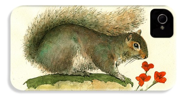 Gray Squirrel Flowers IPhone 4s Case by Juan Bosco