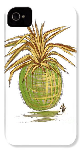 Green Gold Pineapple Painting Illustration Aroon Melane 2015 Collection By Madart IPhone 4s Case by Megan Duncanson