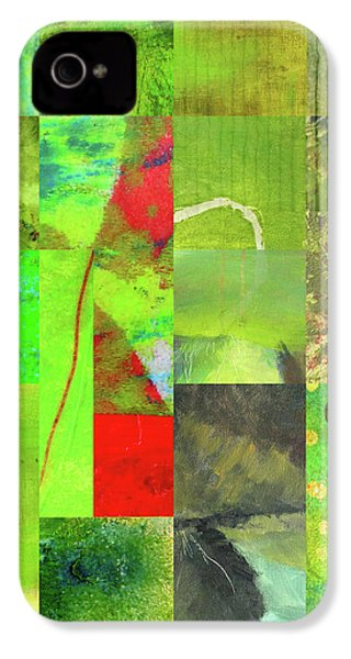 IPhone 4s Case featuring the digital art Green Grid by Nancy Merkle