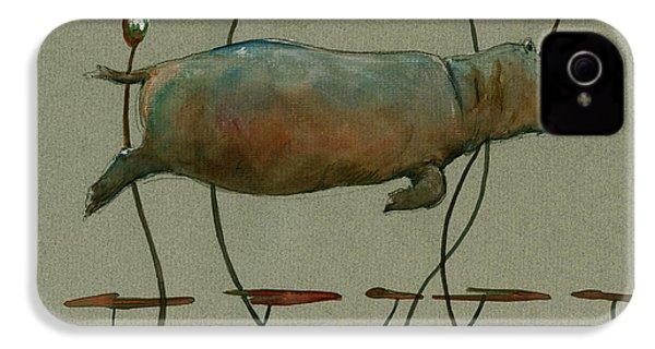 Happy Hippo Swimming IPhone 4s Case by Juan  Bosco