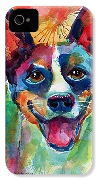 Happy Rat Terrier Watercolor Portrait IPhone 4s Case