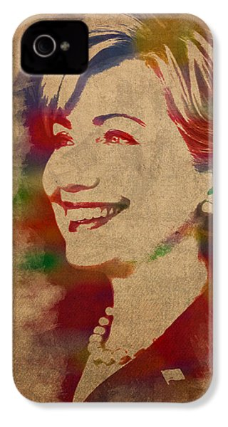 Hillary Rodham Clinton Watercolor Portrait IPhone 4s Case by Design Turnpike
