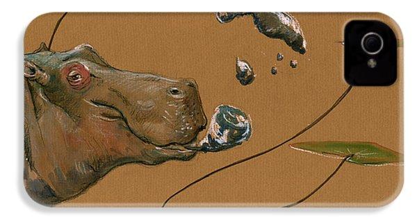 Hippo Bubbles IPhone 4s Case by Juan  Bosco