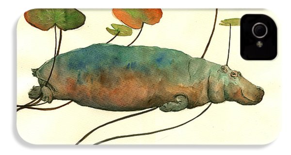 Hippo Swimming With Water Lilies IPhone 4s Case by Juan  Bosco