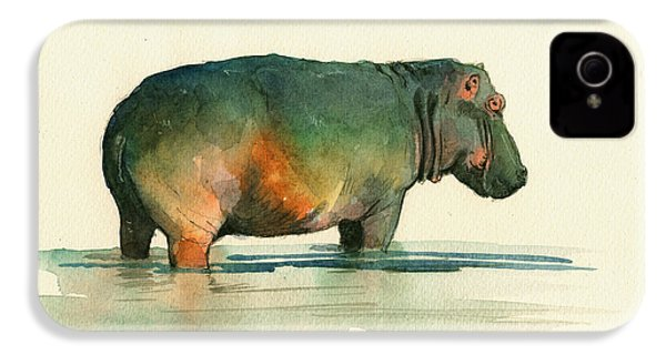 Hippo Watercolor Painting IPhone 4s Case by Juan  Bosco