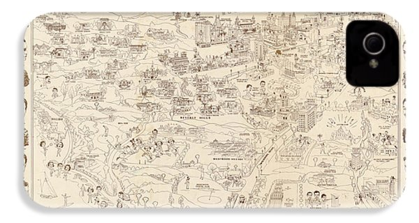 Hollywood Map To The Stars 1937 IPhone 4s Case by Don Boggs