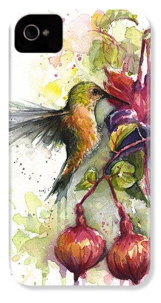 Hummingbird And Fuchsia IPhone 4s Case by Olga Shvartsur