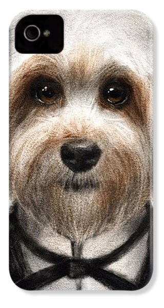 Humorous Dressed Dog Painting By IPhone 4s Case