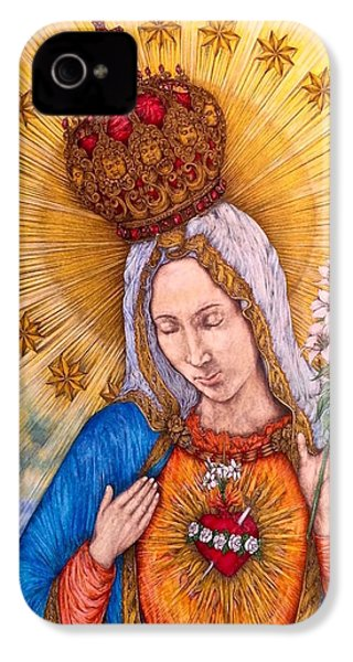 Immaculate Heart Of Virgin Mary IPhone 4s Case by Kent Chua