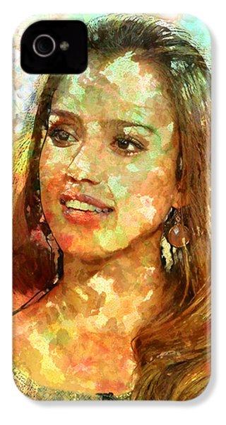 Jessica Alba IPhone 4s Case by Elena Kosvincheva