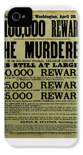 John Wilkes Booth Wanted Poster IPhone 4s Case by War Is Hell Store