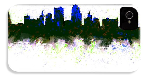 Kansas City Skyline Blue  IPhone 4s Case by Enki Art
