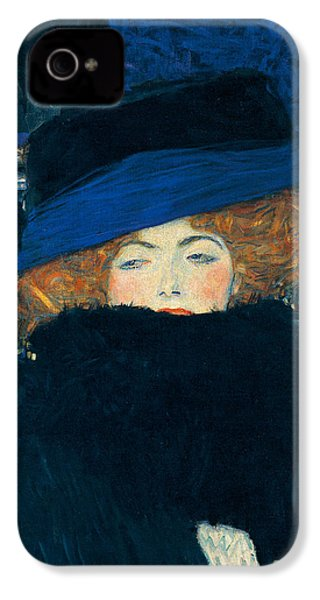 Lady With A Hat And A Feather Boa IPhone 4s Case by Gustav Klimt