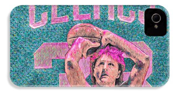 Larry Bird Boston Celtics Digital Painting Pink IPhone 4s Case by David Haskett