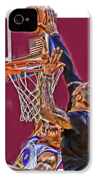 Lebron James Cleveland Cavaliers Oil Art IPhone 4s Case by Joe Hamilton