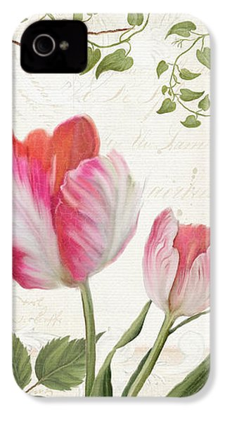 Les Magnifiques Fleurs I - Magnificent Garden Flowers Parrot Tulips N Indigo Bunting Songbird IPhone 4s Case