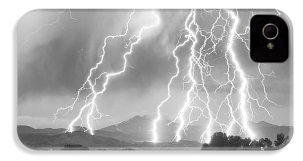 Lightning Striking Longs Peak Foothills 4cbw IPhone 4s Case by James BO  Insogna