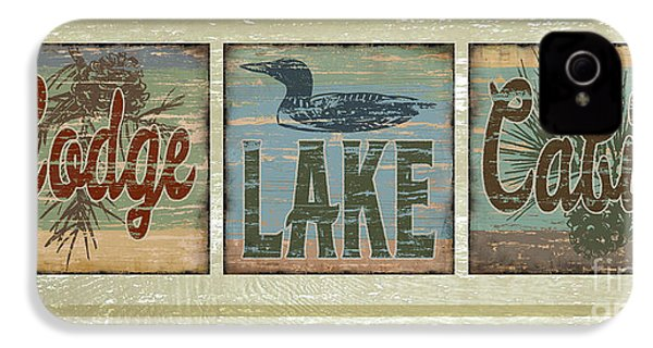 Lodge Lake Cabin Sign IPhone 4s Case by Joe Low