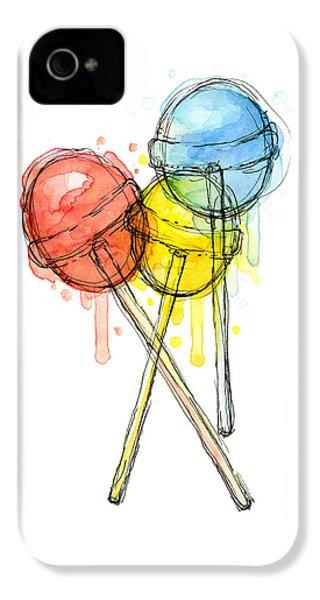 Lollipop Candy Watercolor IPhone 4s Case by Olga Shvartsur