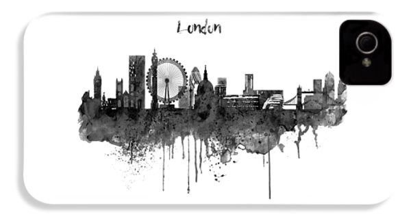 London Black And White Skyline Watercolor IPhone 4s Case by Marian Voicu