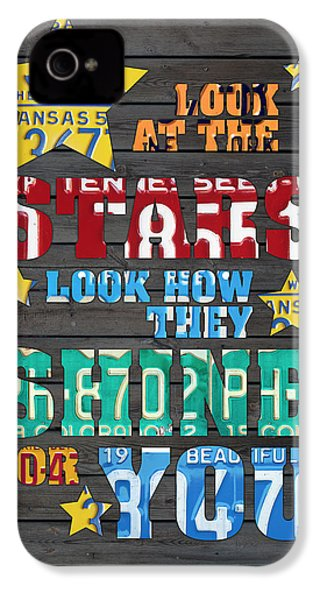 Look At The Stars Coldplay Yellow Inspired Typography Made Using Vintage Recycled License Plates IPhone 4s Case by Design Turnpike