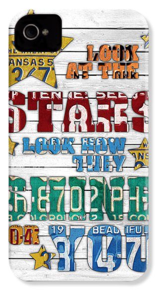 Look At The Stars Coldplay Yellow Inspired Typography Made Using Vintage Recycled License Plates V2 IPhone 4s Case by Design Turnpike