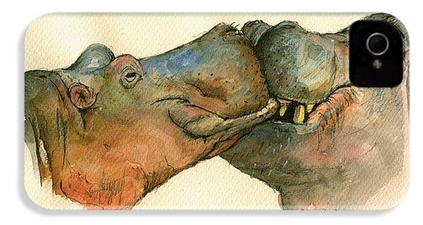 Love Between Hippos IPhone 4s Case by Juan  Bosco