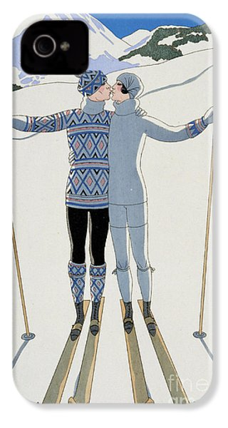 Lovers In The Snow IPhone 4s Case by Georges Barbier