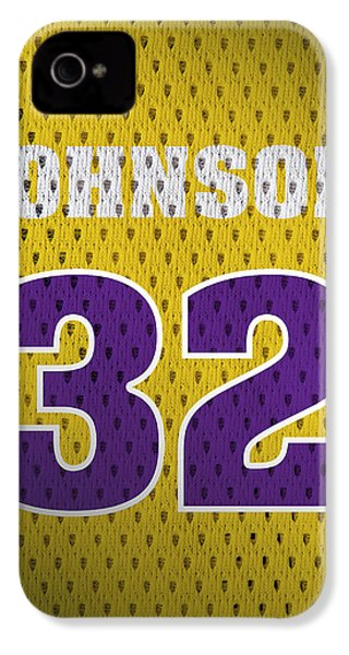 Magic Johnson Los Angeles Lakers Number 32 Retro Vintage Jersey Closeup Graphic Design IPhone 4s Case by Design Turnpike