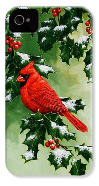 Male Cardinal And Holly Phone Case IPhone 4s Case by Crista Forest