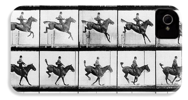 Man And Horse Jumping IPhone 4s Case by Eadweard Muybridge