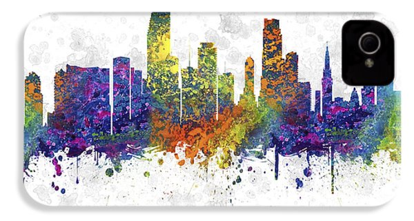Miami Florida Skyline Color 03sq IPhone 4s Case by Aged Pixel