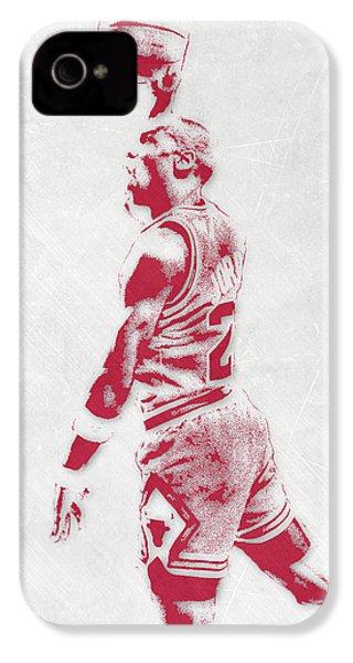 Michael Jordan Chicago Bulls Pixel Art 3 IPhone 4s Case by Joe Hamilton