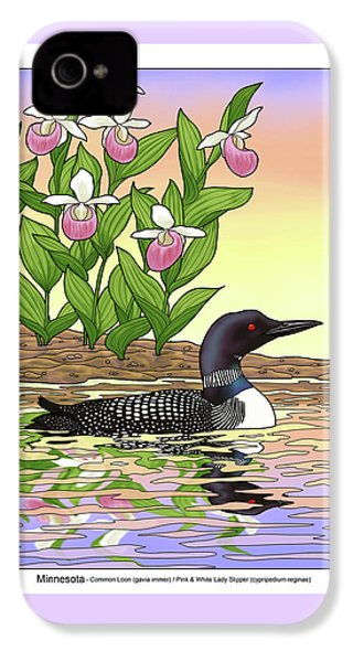 Minnesota State Bird Loon And Flower Ladyslipper IPhone 4s Case by Crista Forest