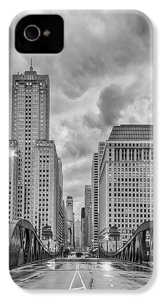Monochrome Image Of The Marshall Suloway And Lasalle Street Canyon Over Chicago River - Illinois IPhone 4s Case by Silvio Ligutti