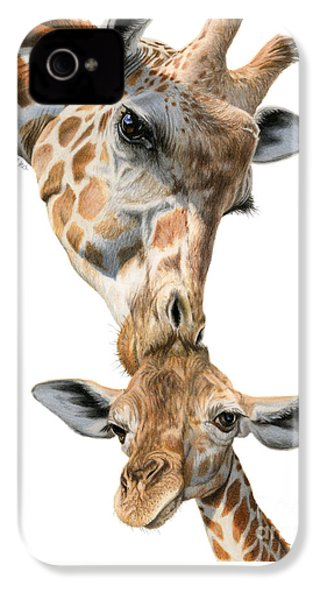 Mother And Baby Giraffe IPhone 4s Case by Sarah Batalka