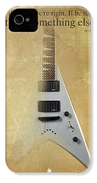 Dr House Inspirational Quote And Electric Guitar Brown Vintage Poster For Musicians And Trekkers IPhone 4s Case by Pablo Franchi