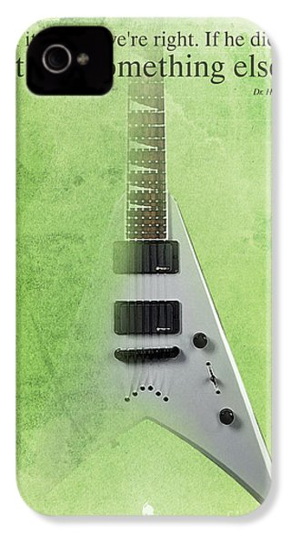 Dr House Inspirational Quote And Electric Guitar Green Vintage Poster For Musicians And Trekkers IPhone 4s Case by Pablo Franchi