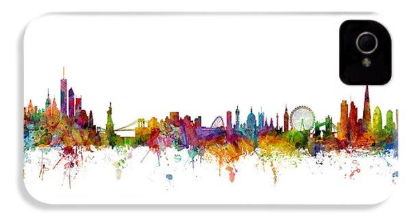 New York And London Skyline Mashup IPhone 4s Case by Michael Tompsett