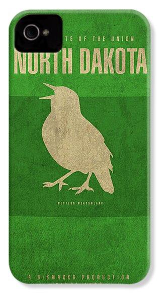 North Dakota State Facts Minimalist Movie Poster Art IPhone 4s Case