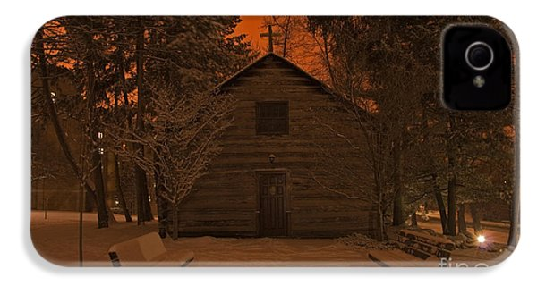 Notre Dame Log Chapel Winter Night IPhone 4s Case by John Stephens