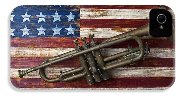 Old Trumpet On American Flag IPhone 4s Case by Garry Gay
