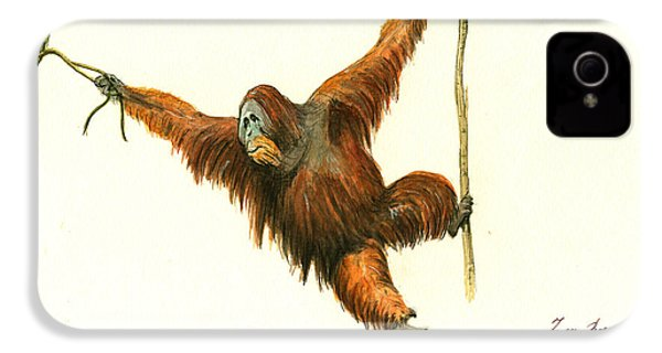 Orangutan IPhone 4s Case by Juan Bosco