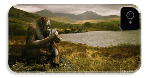 Orangutan With Smart Phone IPhone 4s Case by Amanda Elwell