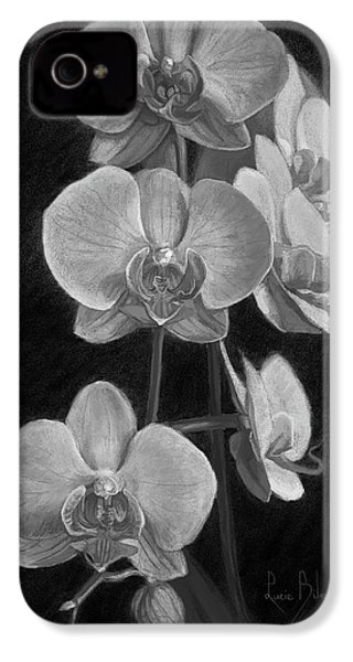 Orchids - Black And White IPhone 4s Case by Lucie Bilodeau