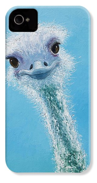 Ostrich Painting IPhone 4s Case by Jan Matson