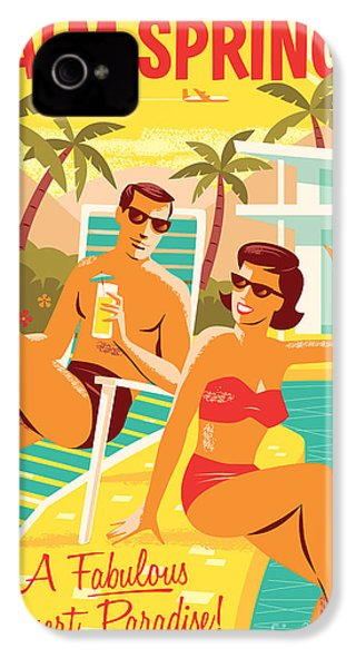 Palm Springs Retro Travel Poster IPhone 4s Case by Jim Zahniser