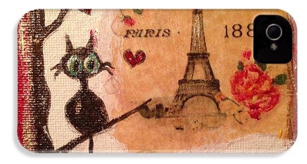 Paris Cat  IPhone 4s Case by Roxy Rich